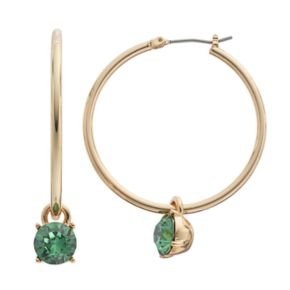 Dana Buchman Stone Drop Nickel Free Hoop Earrings