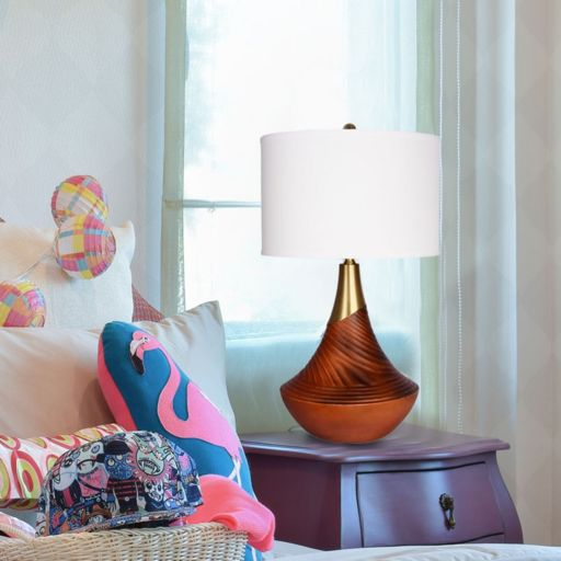 Catalina Lighting Hope Carved Faux Wood Table Lamp