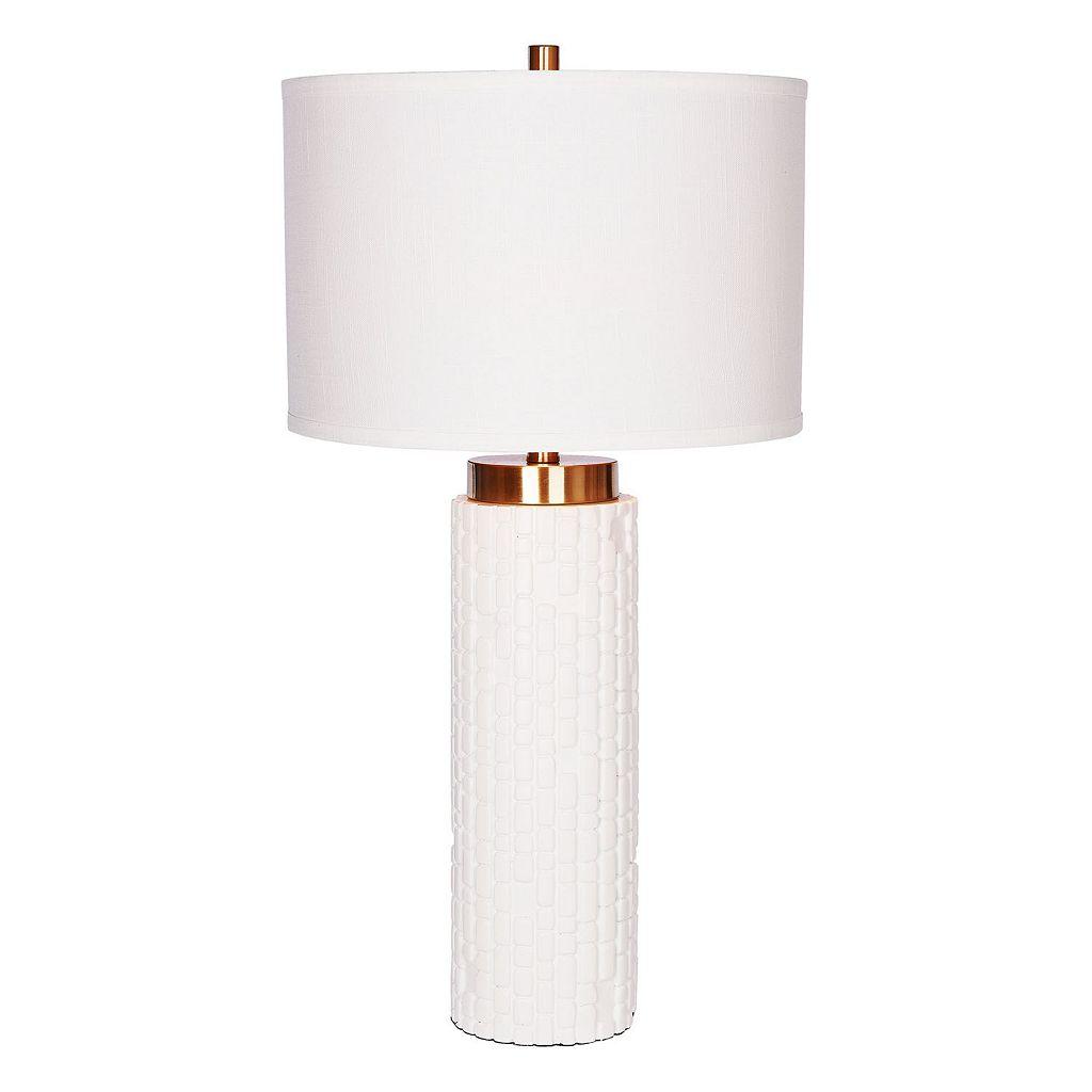 Catalina Lighting Embossed White Table Lamp