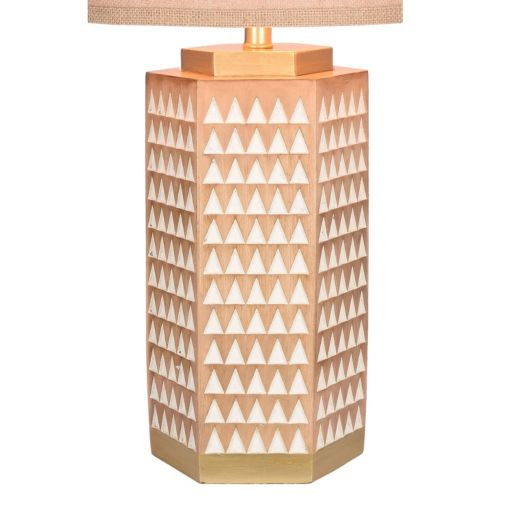 Catalina Lighting Carved Geometric Faux Wood Table Lamp