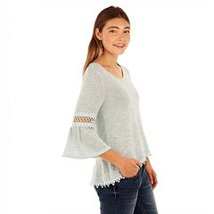 Juniors' Wallflower Lace Trim High-Low Top