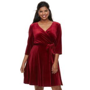 Juniors' Plus Size Wrapper Velvet Faux-Wrap Dress
