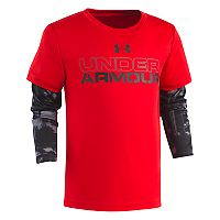 Boys 4-7 Under Armour Cloudy Mock-Layer Logo Tee