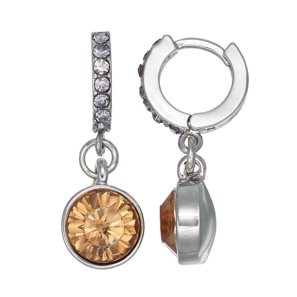 Simply Vera Vera Wang Nickel Free Faceted Stone Drop Huggie Hoop Earrings