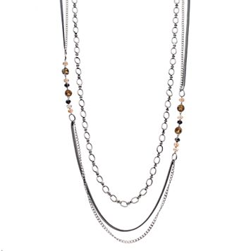Simply Vera Vera Wang Beaded Two Tone Layered Chain Necklace