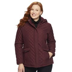 Plus Size Weathercast Hooded Quilted Side-Stretch Jacket