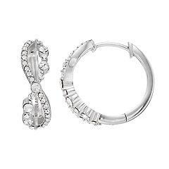 Diamond Splendor Sterling Silver Crystal & Diamond Accent Twist Hoop Earrings