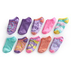Girls 4-16 Bee Posh 10-pk Patterned No-Show Socks