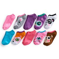 Girls 4-16 Bee Posh 10-pk Animal Faces No-Show Socks