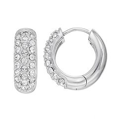 Diamond Splendor Sterling Silver Crystal & Diamond Accent Hoop Earrings