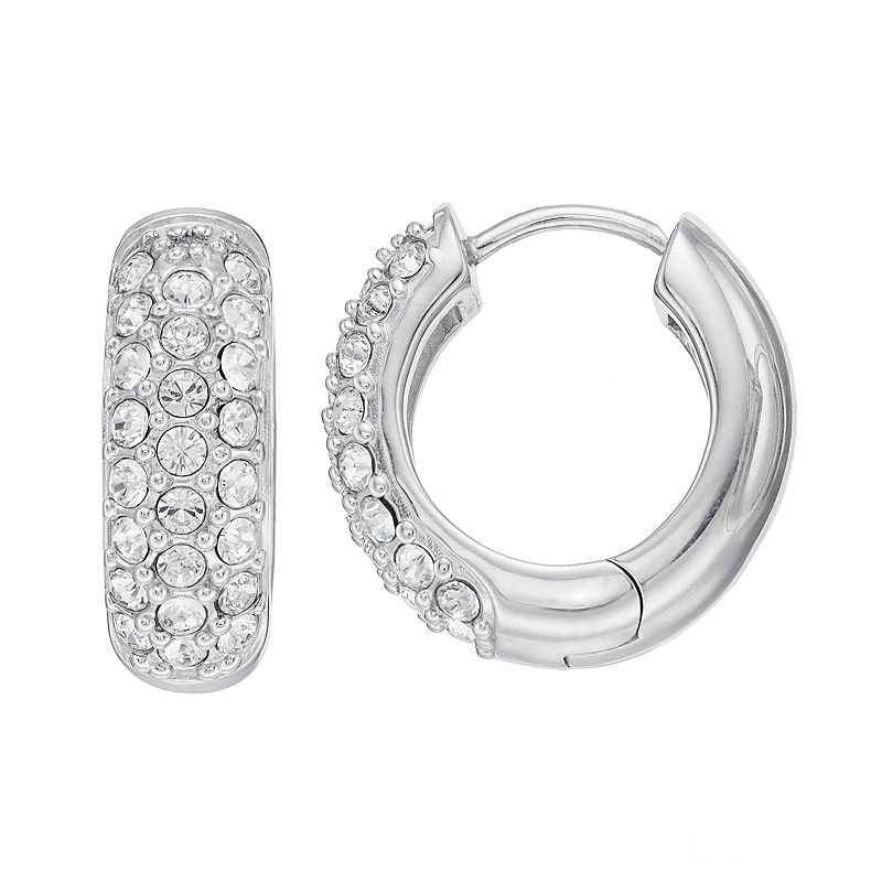 Diamond Splendor Sterling Silver Crystal & Diamond Accent Hoop Earrings. Women's. White
