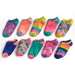 Girls 4-16 Bee Posh 10-pk Neon Patterned No-Show Socks