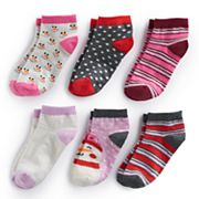 Girls 4-16 Bee Posh 6 pkSnowman & Patterns Ankle Socks