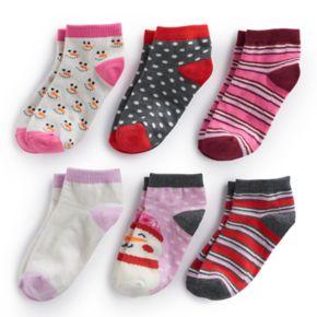Girls 4-16 Bee Posh 6-pk Snowman & Patterns Ankle Socks
