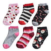 Girls 4-16 Bee Posh 6 pkChristmas Santa & Patterns Ankle Socks