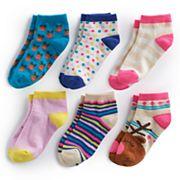 Girls 4-16 Bee Posh 6 pkReindeer & Pattern Ankle Socks