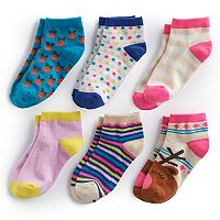 Girls 4-16 Bee Posh 6 pkReindeer & Pattern Ankle Socks