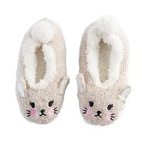 Girls 4-16 Bunny Rabbit Metallic Slipper Socks