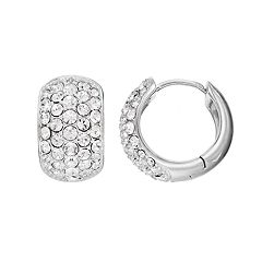 Diamond Splendor Sterling Silver Crystal & Diamond Accent Cluster Hoop Earrings