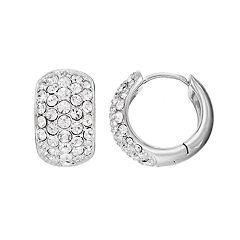 Diamond Splendor Sterling Silver Crystal & Diamond Accent Cluster Hoop Earrings