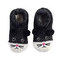 Girls 4-16 Black Cat Slipper Socks