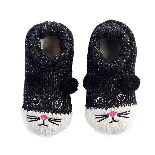 Girls 4-16 Black Cat Slipper Socks