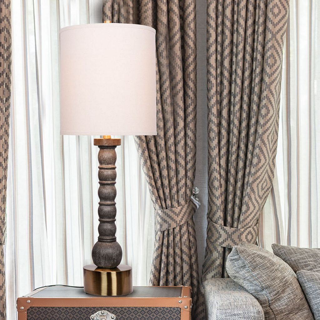 Catalina Lighting Washed Faux Wood Table Lamp