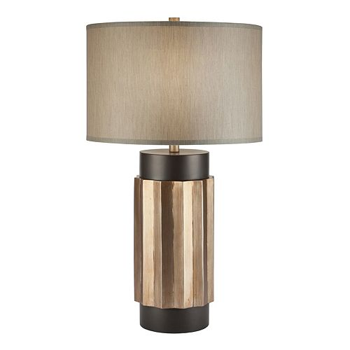 Catalina Lighting Two-Tone Faux Wood Table Lamp