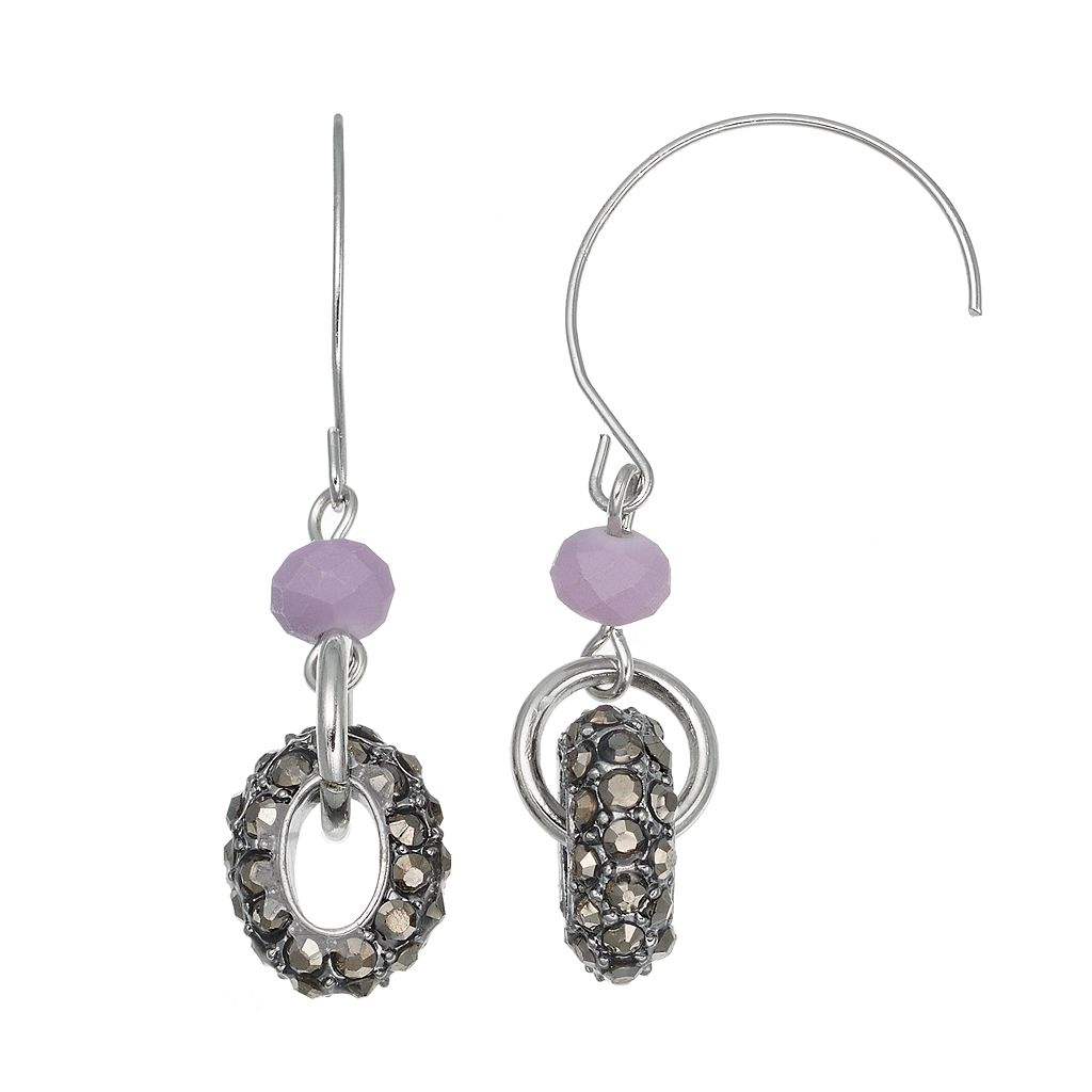 Simply Vera Vera Wang Nickel Free Pave Drop Hoop Threader Earrings