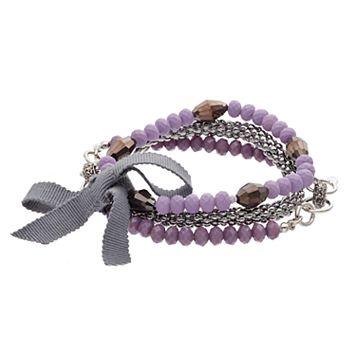 Simply Vera Vera Wang Beaded & Popcorn Chain Stretch Bracelet Set