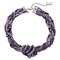 Simply Vera Vera Wang Purple Beaded & Knotted Torsade Necklace