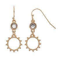LC Lauren Conrad Beaded Texture Drop Hoop Earrings