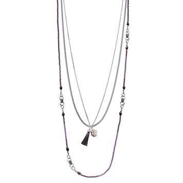 Simply Vera Vera Wang Purple Beaded Tassel Multi Strand Necklace