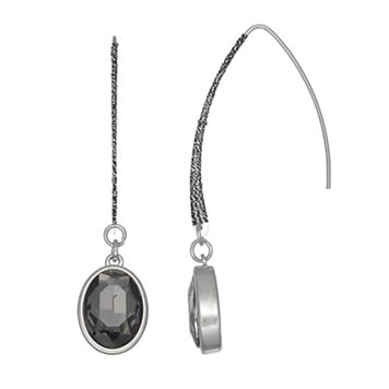 Simply Vera Vera Wang Nickel Free Oval Faceted Stone Threader Earrings
