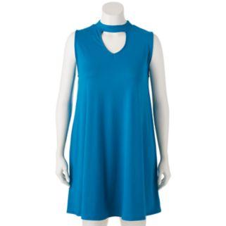 Juniors' Plus Size Mudd® Choker Neck Swing Dress