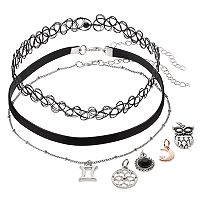 Mudd® Gemini, Owl & Crescent Interchangeable Charm Choker Necklace Set