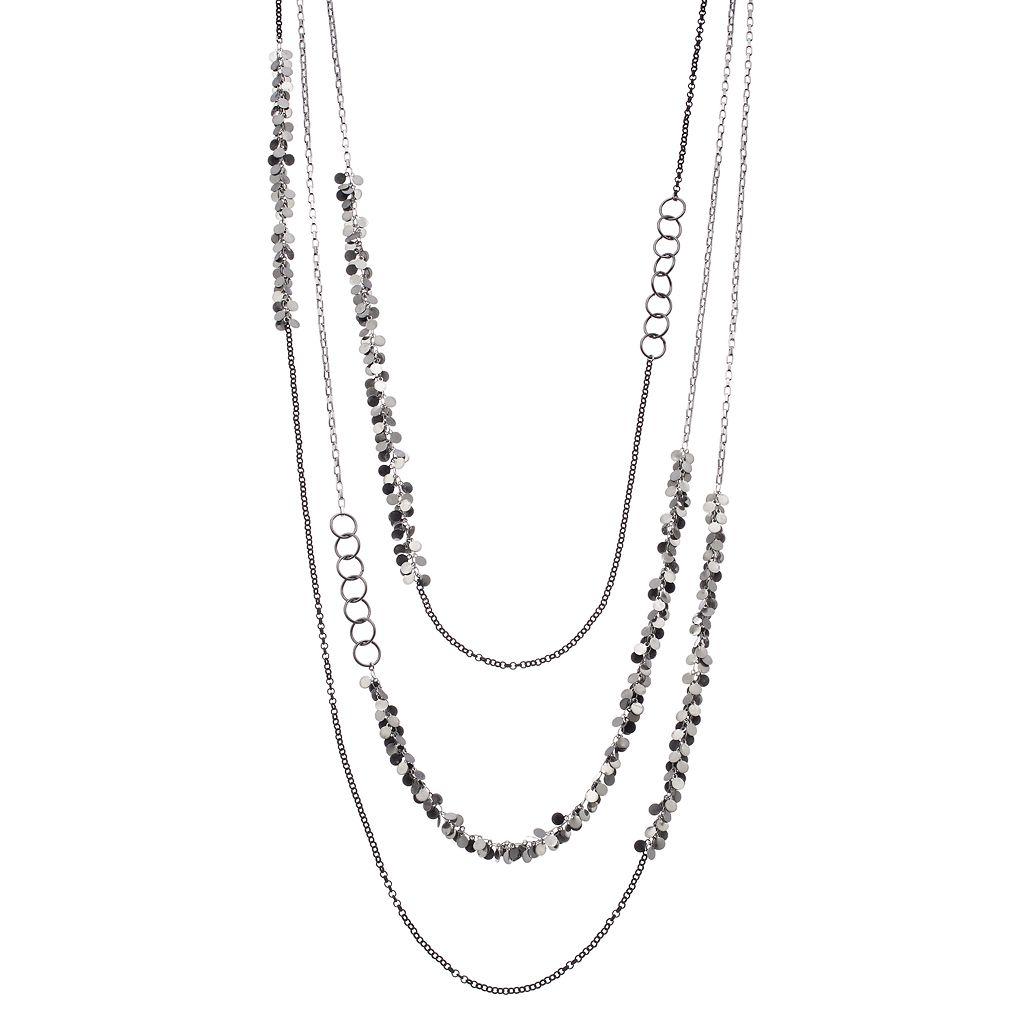 Simply Vera Vera Wang Two Tone Shaky Disc & Circle Link Layered Necklace