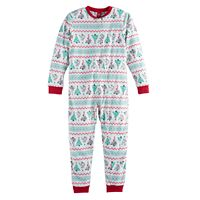 Kids 4-20 Jammies For Your Families Christmas Tree Fairisle Microfleece One-Piece Pajamas
