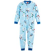 Kids 4-20 Jammies For Your Families Football Snowmen Microfleece One-Piece Pajamas