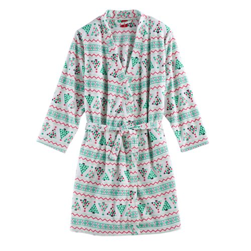 Kids 4-20 Jammies For Your Families Christmas Tree Fairisle Microfleece Robe