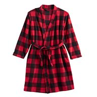 Kids 4-20 Jammies For Your Families Buffalo Plaid Microfleece Robe