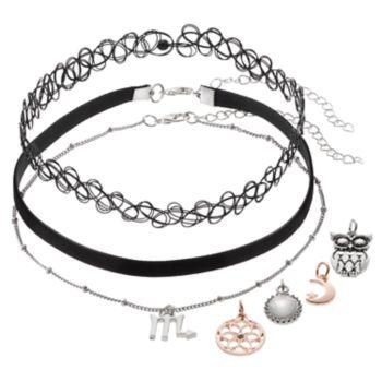 Mudd® Scorpio, Owl & Crescent Interchangeable Charm Choker Necklace Set