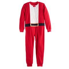 Kids 4-20 Jammies For Your Families Santa Suit Microfleece One-Piece Pajamas