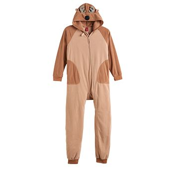 Kids 4-20 Jammies For Your Families Hooded Reindeer Microfleece One-Piece Pajamas