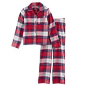 Girls 7-16 Jammies For Your Families Plaid Flannel Button-Front Top & Bottoms Pajama Set