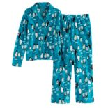 Girls 7-16 Jammies For Your Families Penguin Pattern Button-Front Top & Bottoms Pajama Set