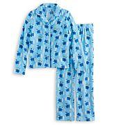 Girls 7-16 Jammies For Your Families Hanukkah Polar Bear Button-Front Top & Bottoms Pajama Set