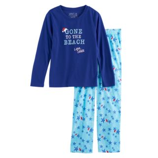 """Girls 7-16 Jammies For Your Families """"Gone to the Beach Love, Santa"""" Top & Starfish Pattern Bottoms Pajama Set"""