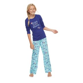 "Girls 7-16 Jammies For Your Families ""Gone to the Beach Love, Santa"" Top & Starfish Pattern Bottoms Pajama Set"