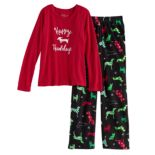 Girls 7-16 Jammies For Your Families Holiday Dog Top & Fleece Bottoms Pajama Set